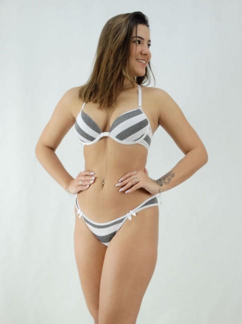 Conjunto Sutiã Nadador e Calcinha Listrado Branco e Cinza [2008089]