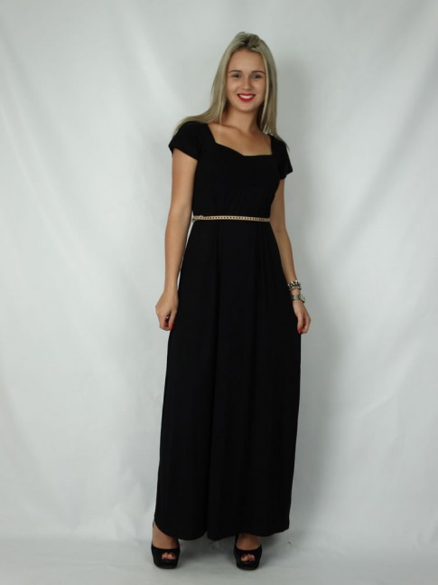 Vestido longo com decote e manga curta
