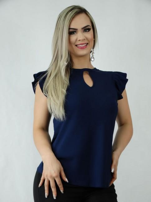 Blusa em Viscose Detalhe Gota Azul Marinho [1906132]
