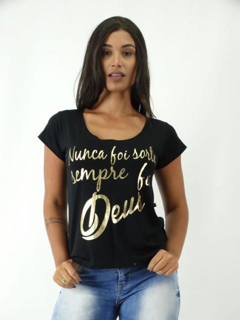 T-shirt em Viscolycra Mullet Estampa Nunca Foi Sorte