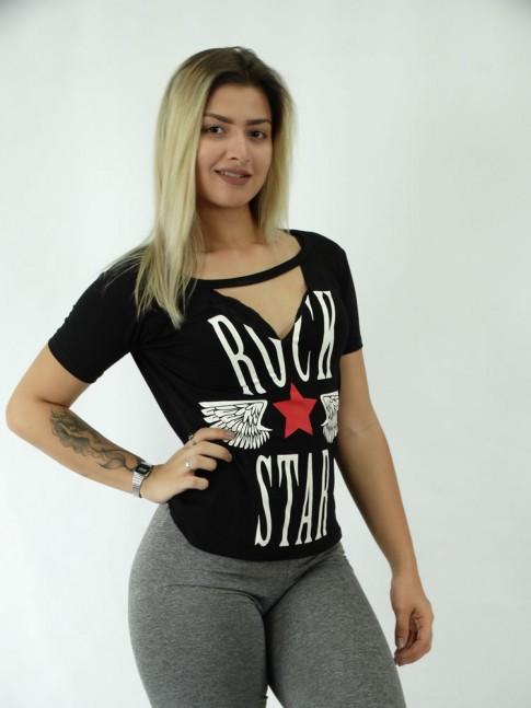 T-shirt em Viscolycra RecorteV RS