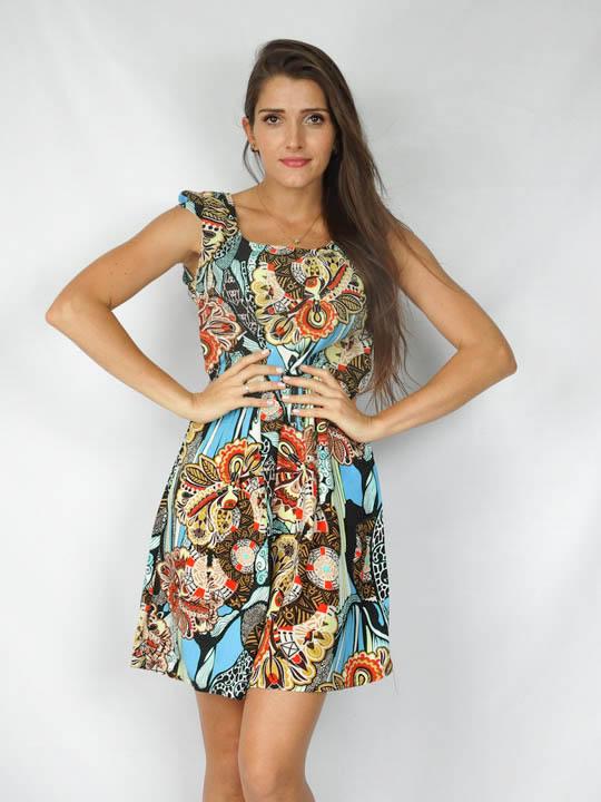 7ce57b7f2 Vestido alça larga tecido viscose estampa étnica color