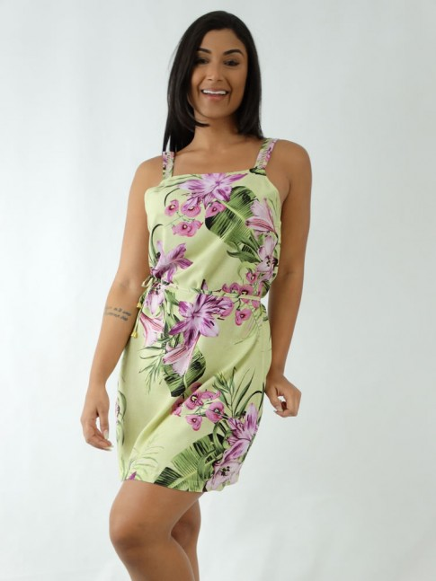 Vestido em Viscose Decote Quadrado de Alça Trabalhada Verde Folhas Flores [1912031]