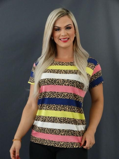 T-shirt Estampada em Viscolycra Onça Listras Azul Marinho, Off e Amarelo [2101011]