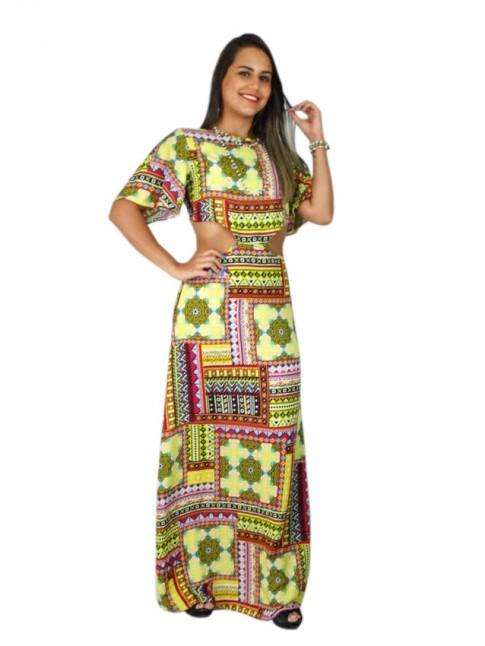 Vestido longo de viscose com recorte nas costas estampa étnica amarela