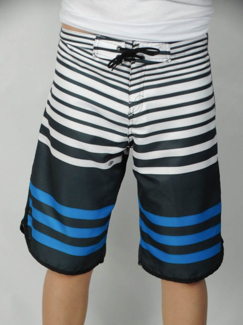312-Bermuda masculina em microfibra sublimada com viés lateral listrada cinza chumbo, branco e azul
