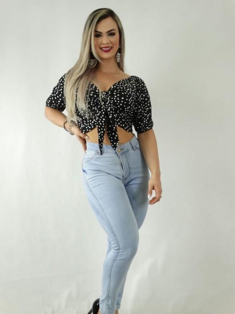 Calça Jeans Claro Stretch Skinny Detalhe Pinçado [1909310]