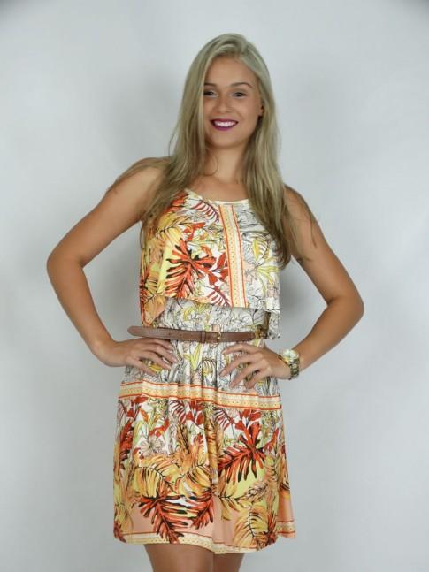 308 - Vestido em Visco Lycra de Alça com Blusa Sobreposta Estampa Flores e folhas salmão