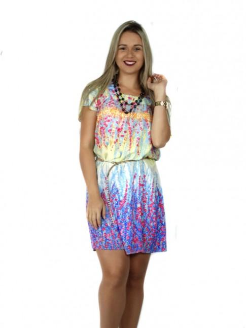Vestido de viscose com manga curta barrado estampa floral azul