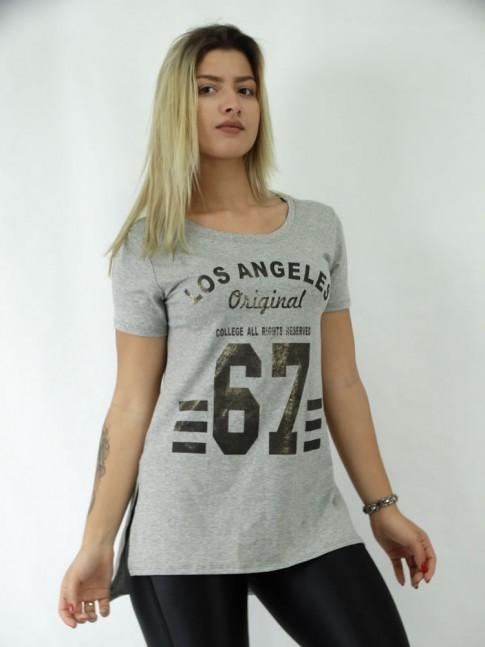 T-shirt Mullet com Fenda Viscolycra Lisa Numeros