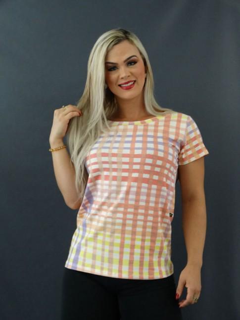 T-shirt Estampada em Viscolycra Quadriculado Rosa e Lilás [2101001]