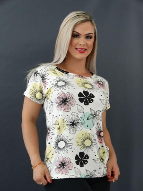 T-shirt Estampada em Viscolycra Off Flores Poá Colors [2101004]