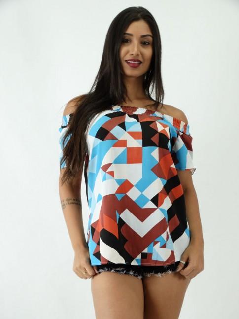 Blusa em Viscose Ciganinha Geométrico Colors
