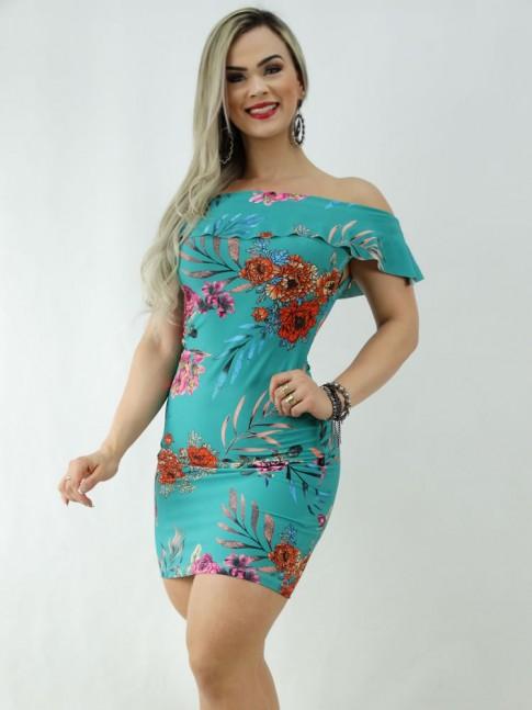 Vestido em Suplex Ombro a Ombro com Babado Verde Flores [2003060]