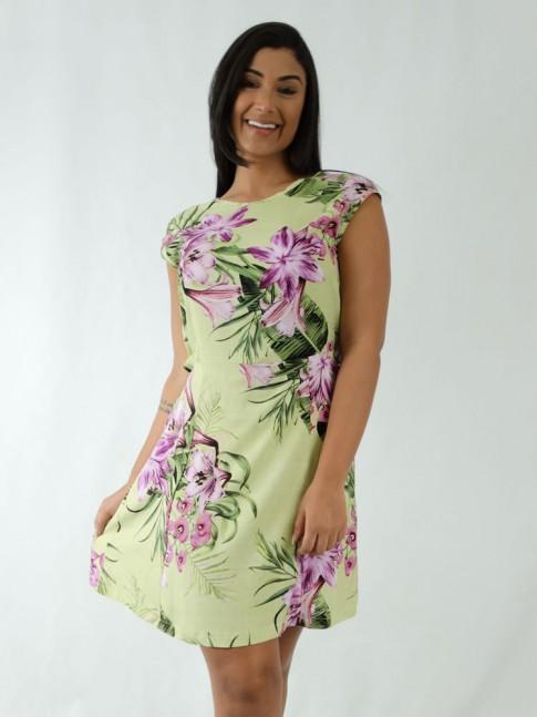 Vestido em Viscose Transpassado nas Costas Verde Folhas Flores [1912068]