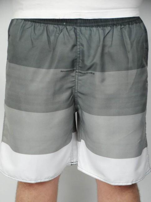 312-Short masculino em microfibra sublimado com elástico e cadarço listrado cinza e branco