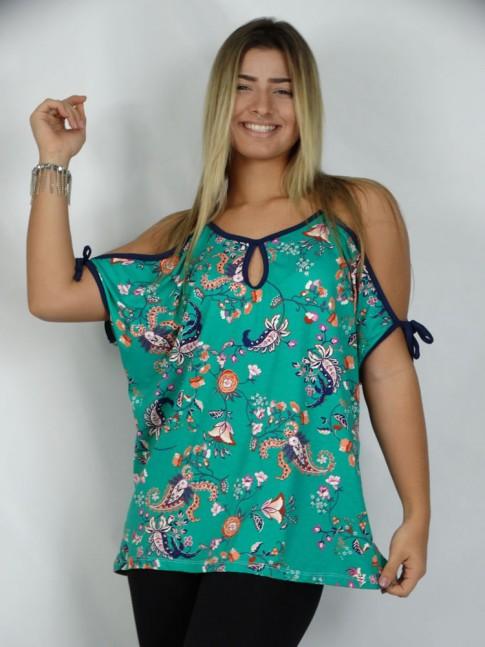 308 - Blusa em Viscolycra Recorte no Ombro Decote Gota Verde Estampa Cachemir Floral