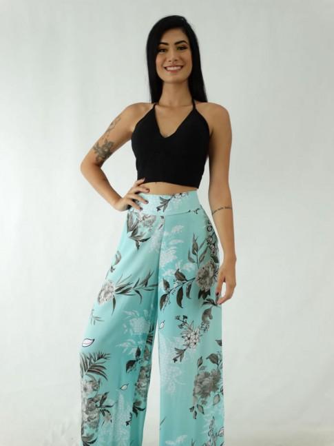 Calça Pantalona em Viscose com Pala e Elástico Azul Turquesa Folhas Cinza [1911105]