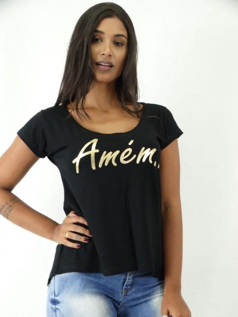 T-shirt em Viscolycra Mullet Amem