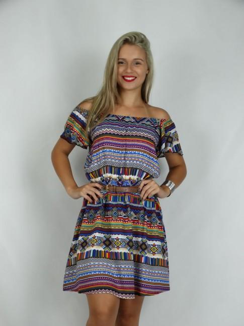 308- Vestido Ciganinha em Viscose Estampa Etnica Azul