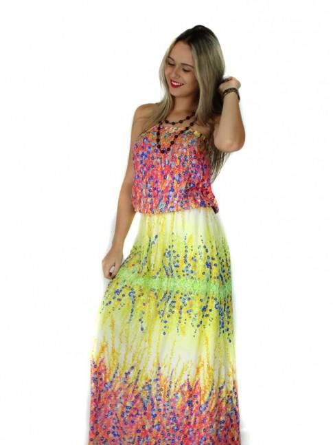 Vestido de viscose longo tomara-que-caia estampa floral hot