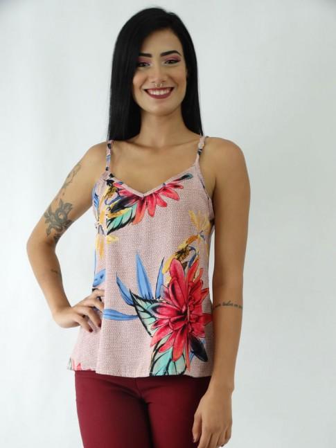 Blusa em Viscose de Alça Decote V Rose Flores Colors [1911064]