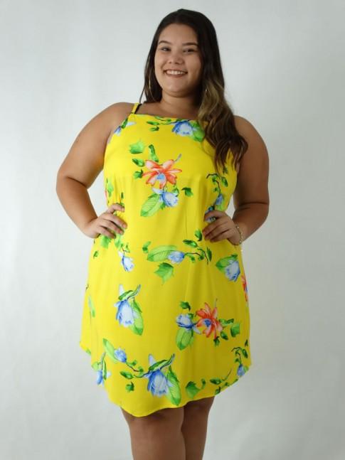 Vestido em Viscose Assimétrico Plus Size Amarelo Flores [1903054]