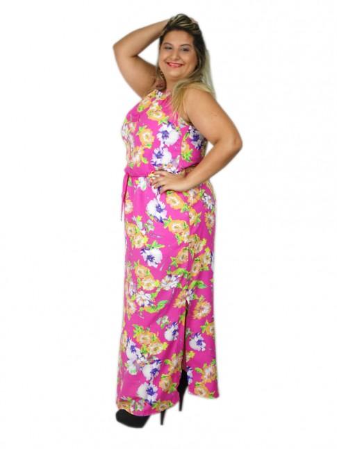 Vestido de viscose longo com fenda lateral estampa floral rosa