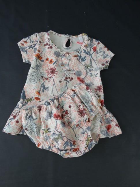Vestido Infantil + Calcinha em Cotton Lycra Estampado Rosa Flores [2008197]