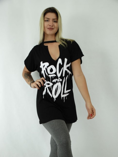 T-shirt Tunica Recorte V Viscolycra Rock and Roll