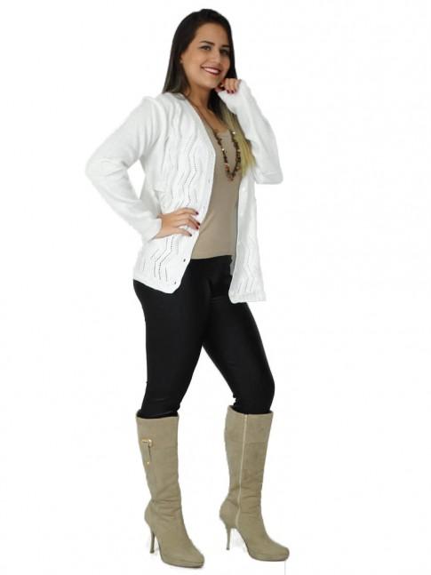 200-Casaco em tricot detalhe em zigue-zague com botão