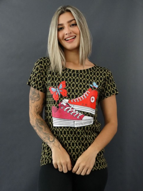 T-shirt Estampada em Viscolycra Preto Étnico Verde Tênis [2012042]