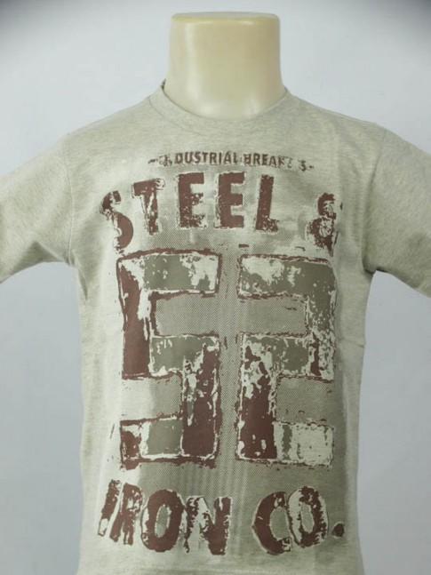 T-shirt infantil gola careca bege com estampa industrial