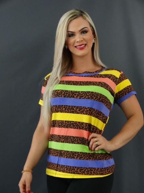 T-shirt Estampada em Viscolycra Onça Listras Roxo, Amarelo e Verde [2101010]