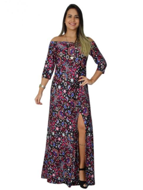 308-Vestido longo manga 3/4 com fenda estampa floral rosa