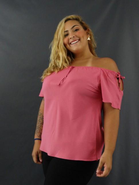 Blusa Ciganinha Detalhe Laço Plus Size em Viscose Rosa [2012170]