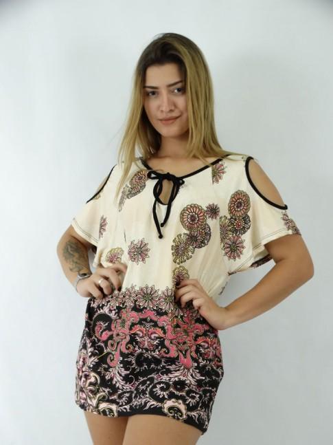 Blusa em  Viscolycra Gota e Amarracao no decote India Elements Colors