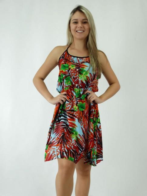 308 - Vestido Frente Única em Viscose Elástico na Cintura Estampa Flora Multicolor