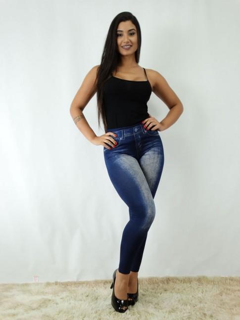 Calça Legging em Suplex Canelado Jeans Fake Azul [1812143]