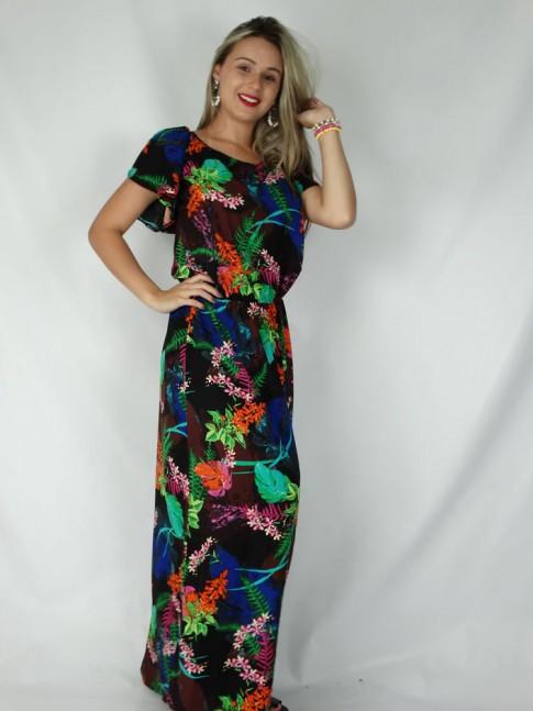 Vestido de viscose longo aberto nas costas estampa floral marrom