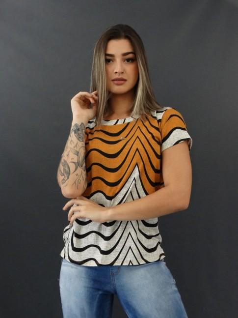 T-shirt Estampada em Viscolycra Off e Mostarda Relevos [2011024]