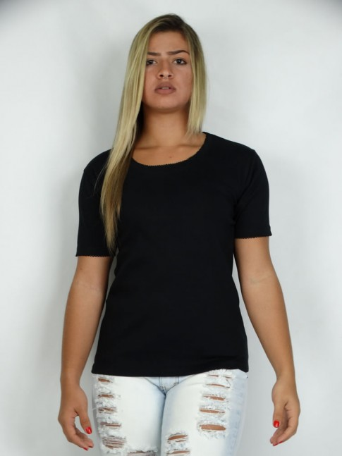 314 - Blusa  Decote Arredondado Malha Piquet Lisa 643