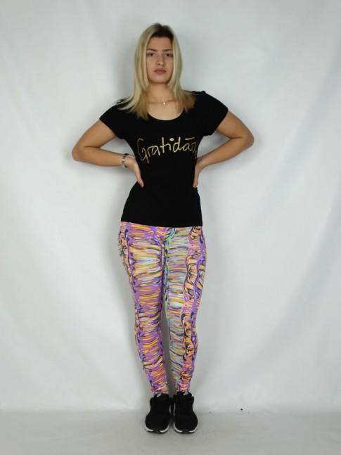 Calça Legging em Suplex Rosa Efeitos