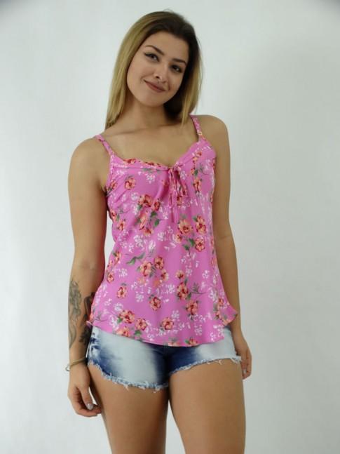 Blusa em Viscose Decote V com Cadaço Rosa com Flores