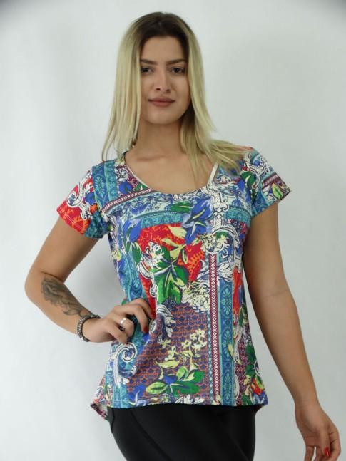 T-shirt Mullet em Viscolycra Color Flores
