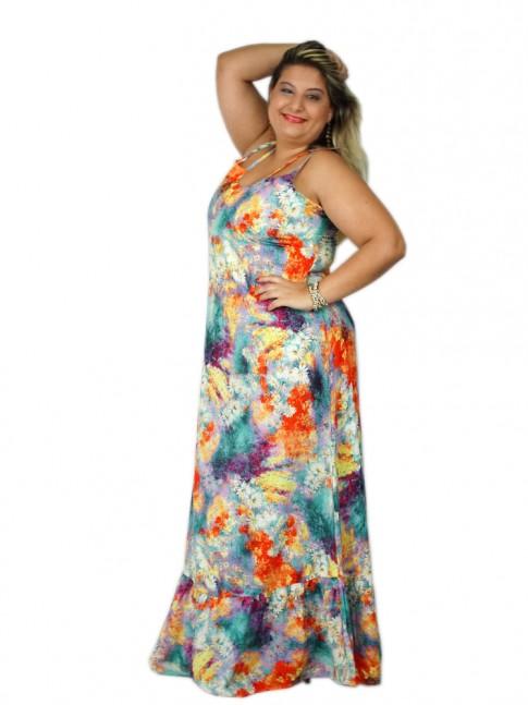 Vestido de viscose longo com alça cruzada estampa croco floral hot