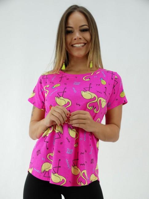 T-shirt Baby Look em Viscolycra Rosa Neon Flamingos [2001295]