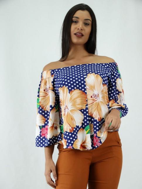 Blusa em Viscose Modelo Ciganinha Manga Flare Poa e Flores