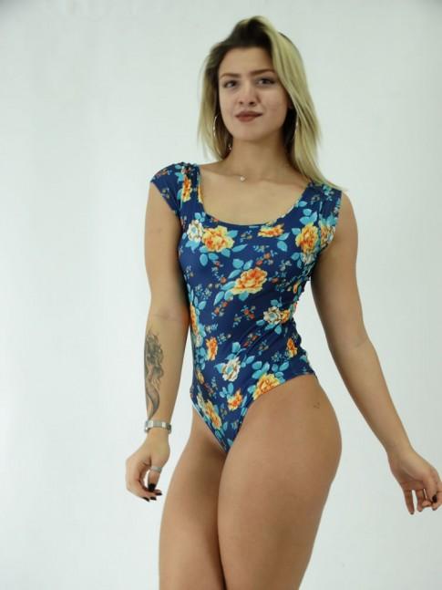 Body Suplex Manguinha Azul Flores