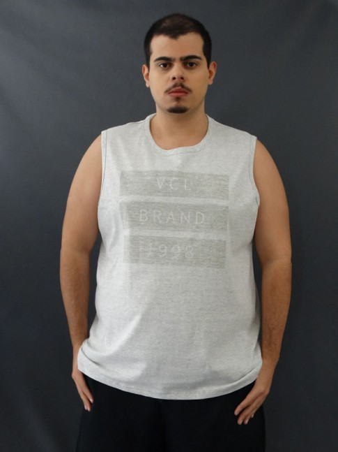 Camiseta Masculina Regata Três Listras Cinza Plus Size [2010053]